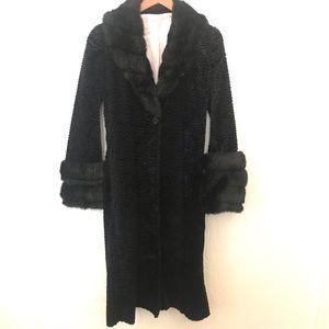 RARE VTG RUTH ANTHROPOLOGIE BLACK PINK FUR COAT